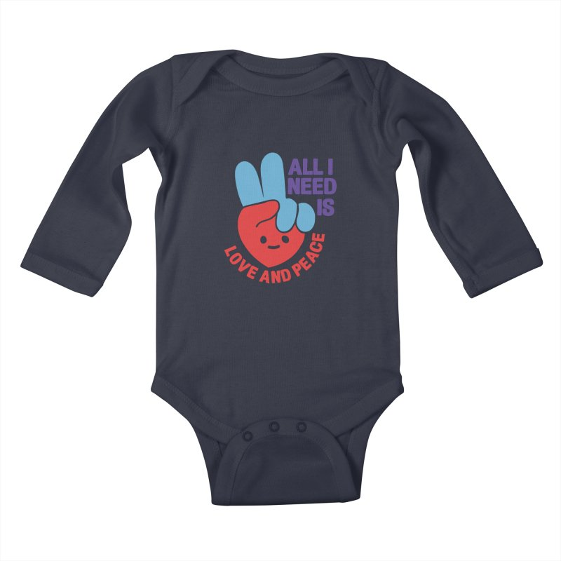 ALL I NEED IS LOVE AND PEACE Kids Baby Longsleeve Bodysuit by Saksham Artist Shop
