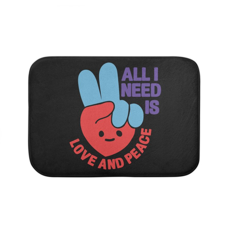 ALL I NEED IS LOVE AND PEACE Home Bath Mat by Saksham Artist Shop