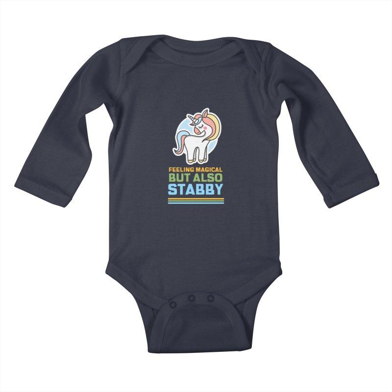 FEELING MAGICAL BUT ALSO STABBY Kids Baby Longsleeve Bodysuit by Saksham Artist Shop