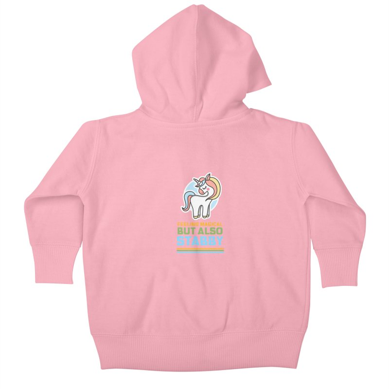 FEELING MAGICAL BUT ALSO STABBY Kids Baby Zip-Up Hoody by Saksham Artist Shop