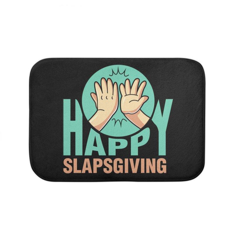 HAPPY SLAPSGIVING Home Bath Mat by Saksham Artist Shop
