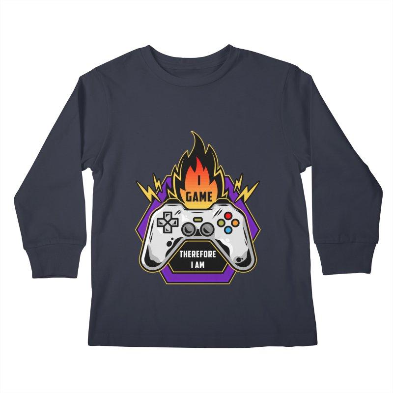 I GAME THEREFORE I AM Kids Longsleeve T-Shirt by Saksham Artist Shop