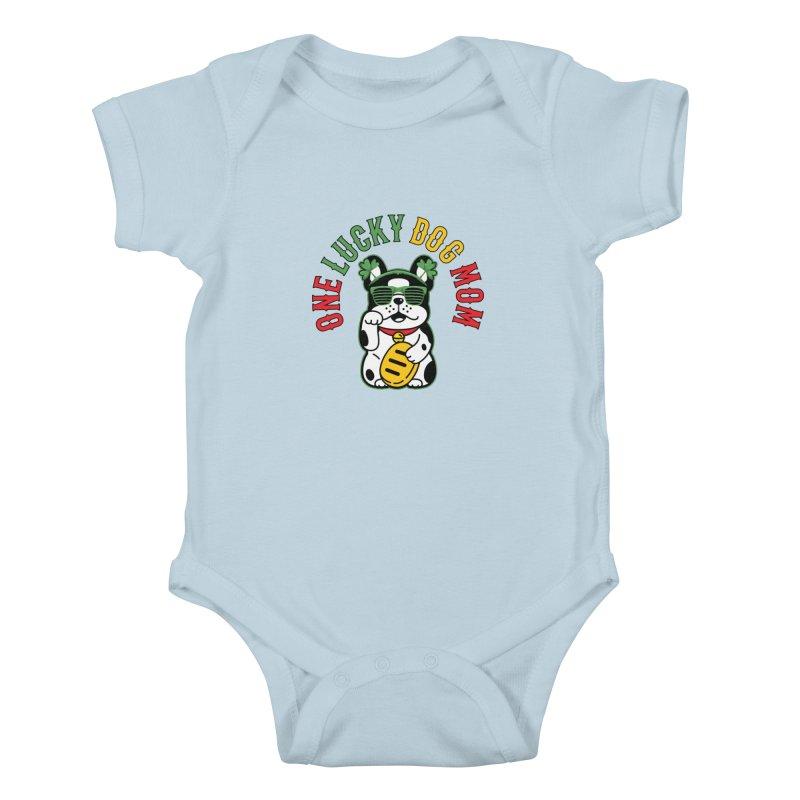 ONE LUCKY DOG MOM Kids Baby Bodysuit by Saksham Artist Shop