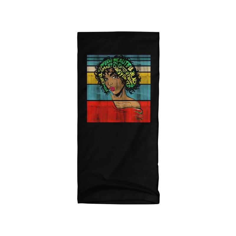Strong Black Woman Afro Typography Art Accessories Neck Gaiter by Saksham Artist Shop