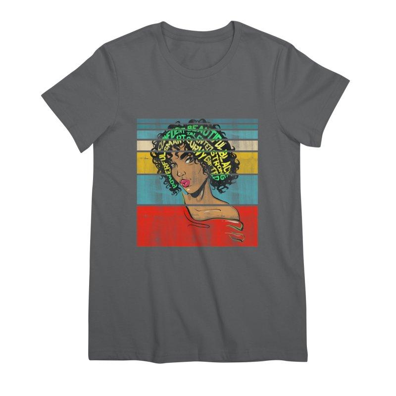Strong Black Woman Afro Typography Art Women's T-Shirt by Saksham Artist Shop