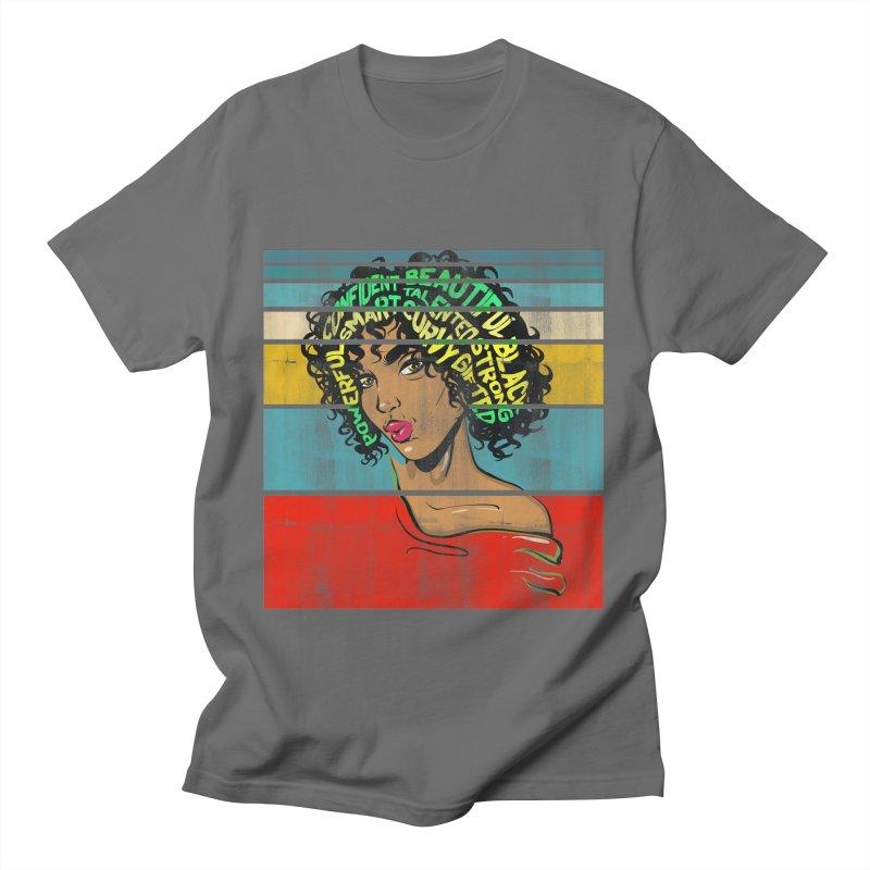 Strong Black Woman Afro Typography Art Men's T-Shirt by Saksham Artist Shop