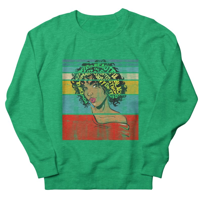 Strong Black Woman Afro Typography Art Women's Sweatshirt by Saksham Artist Shop