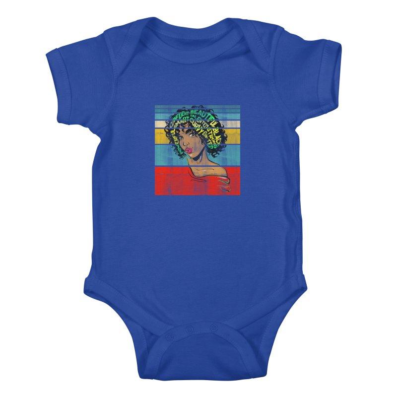 Strong Black Woman Afro Typography Art Kids Baby Bodysuit by Saksham Artist Shop