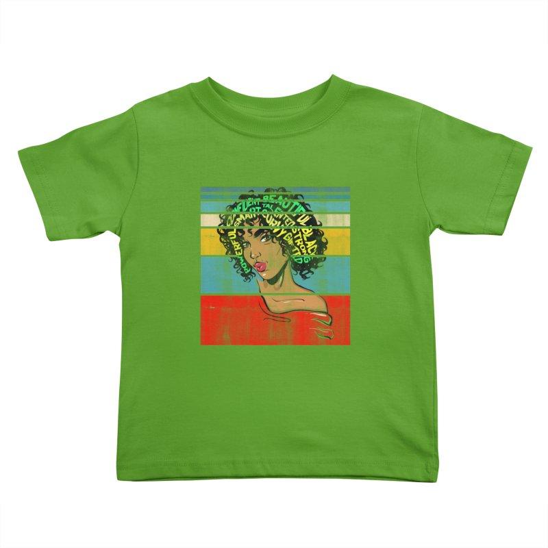Strong Black Woman Afro Typography Art Kids Toddler T-Shirt by Saksham Artist Shop
