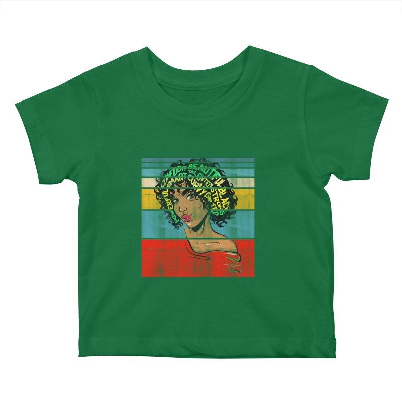 Strong Black Woman Afro Typography Art Kids Baby T-Shirt by Saksham Artist Shop