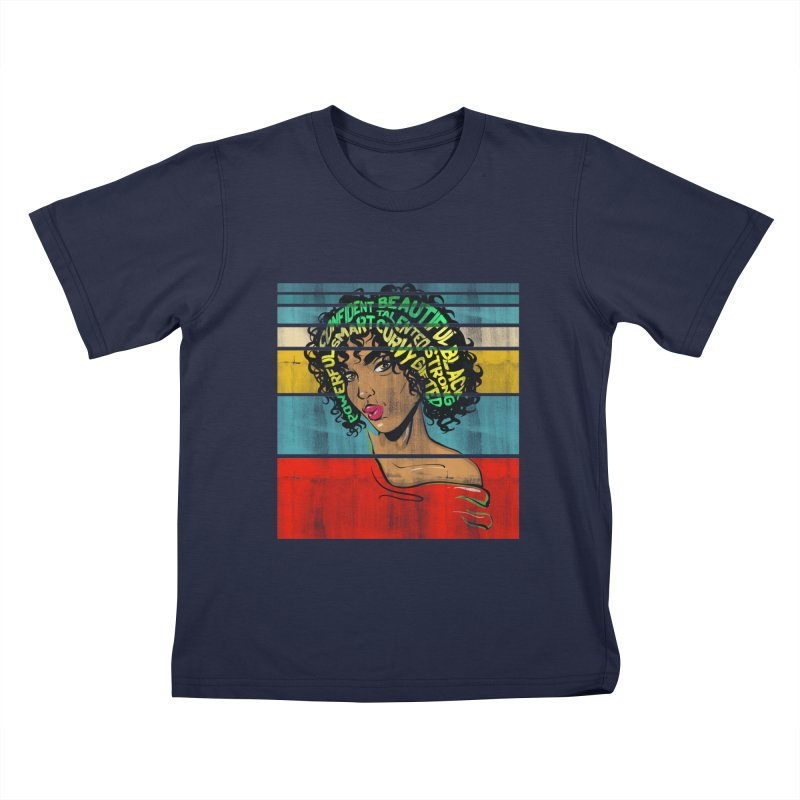 Strong Black Woman Afro Typography Art Kids T-Shirt by Saksham Artist Shop
