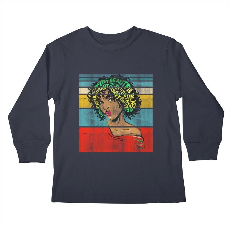 Strong Black Woman Afro Typography Art Kids Longsleeve T-Shirt by Saksham Artist Shop