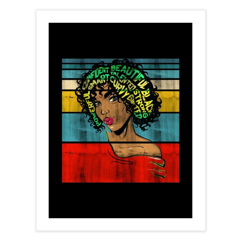 Strong Black Woman Afro Typography Art Home Fine Art Print by Saksham Artist Shop