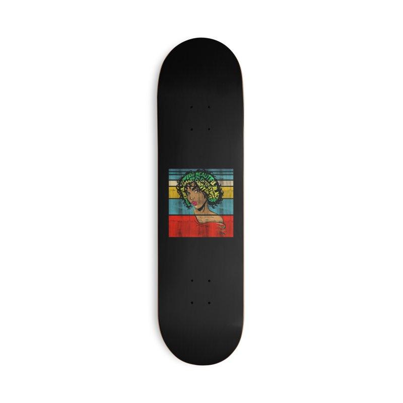 Strong Black Woman Afro Typography Art Accessories Skateboard by Saksham Artist Shop
