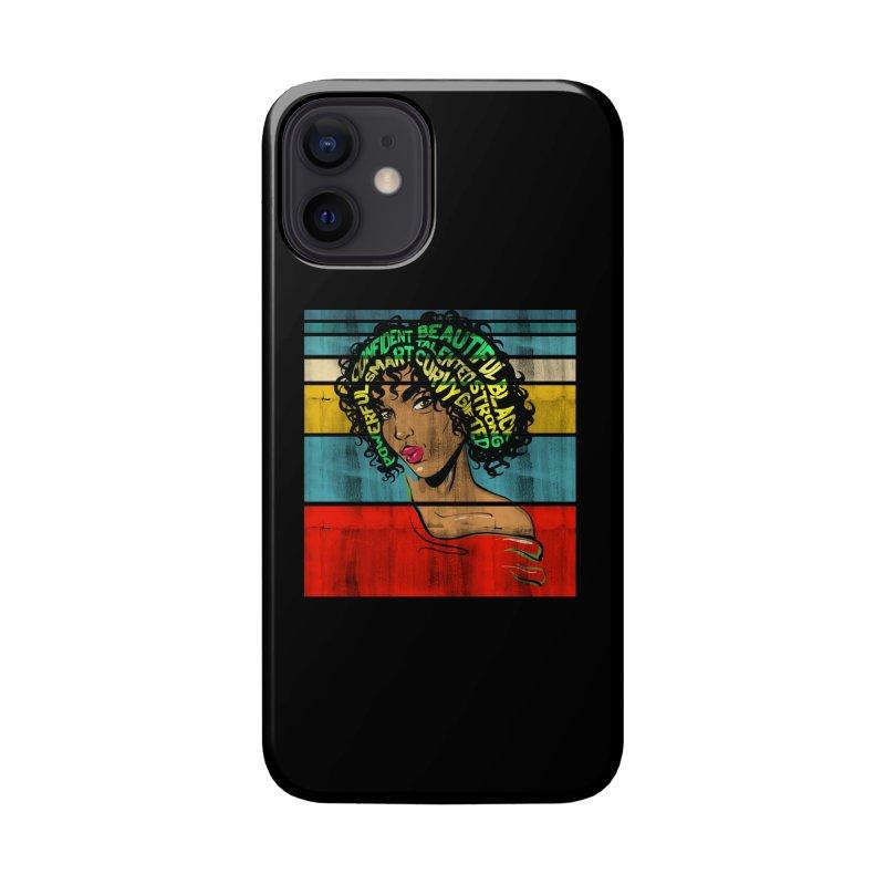 Strong Black Woman Afro Typography Art Accessories Phone Case by Saksham Artist Shop