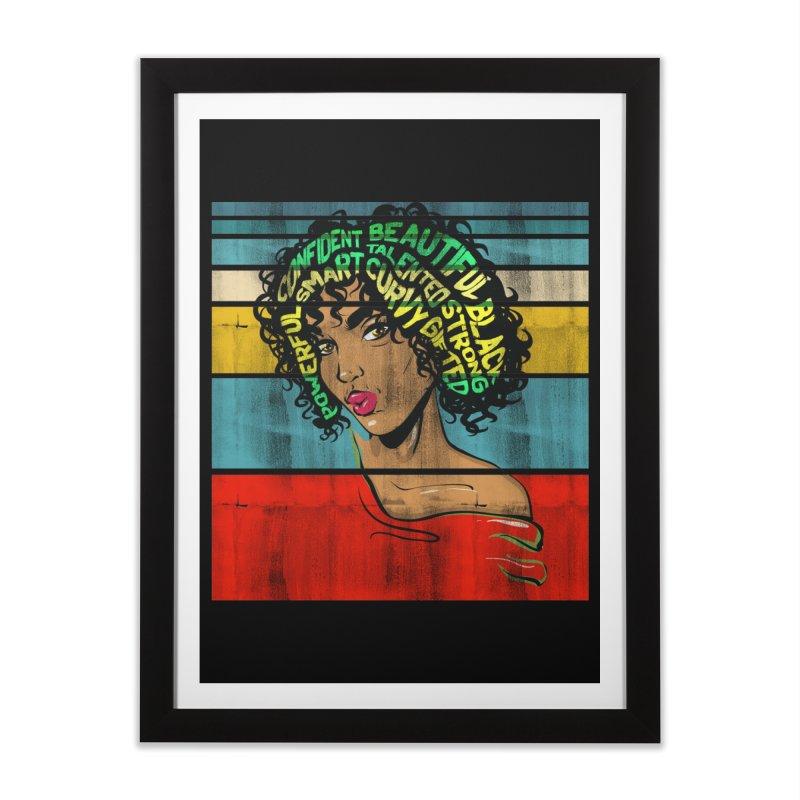Strong Black Woman Afro Typography Art Home Framed Fine Art Print by Saksham Artist Shop