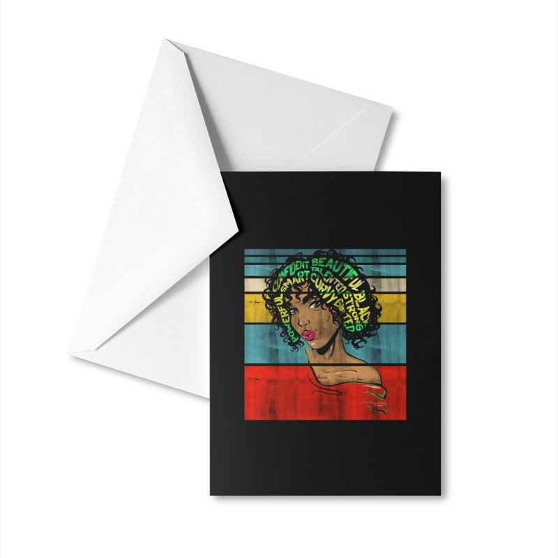 Strong Black Woman Afro Typography Art Accessories Greeting Card by Saksham Artist Shop