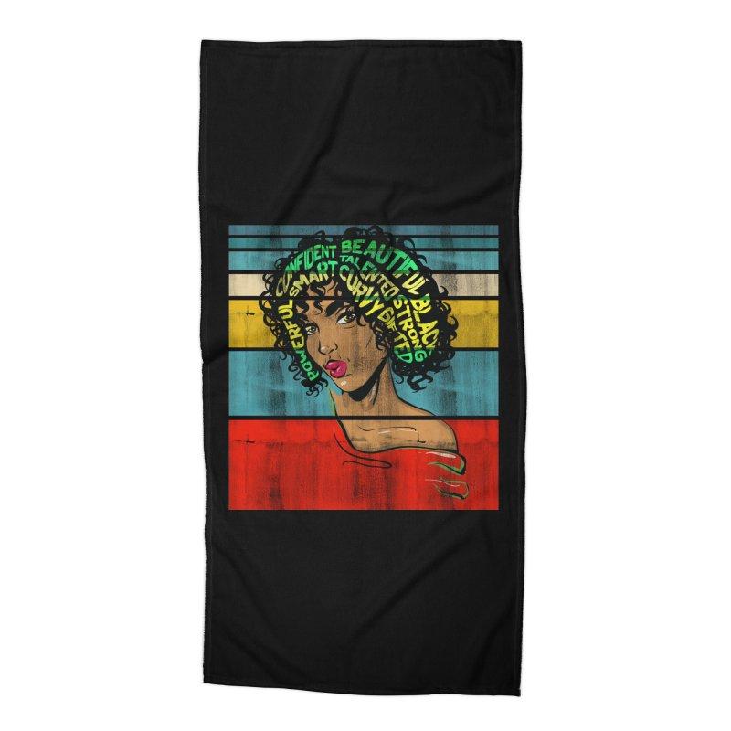 Strong Black Woman Afro Typography Art Accessories Beach Towel by Saksham Artist Shop