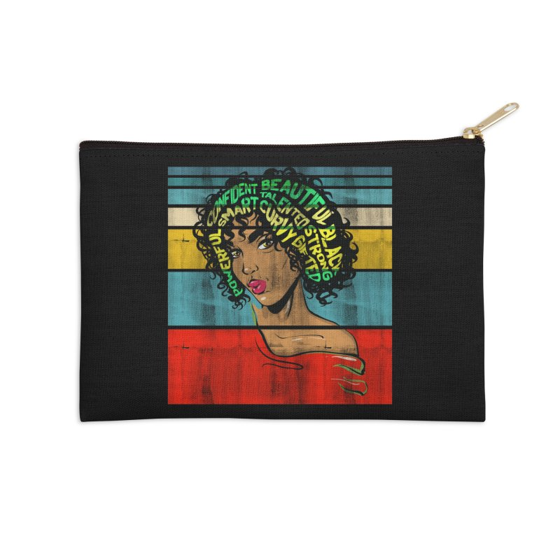 Strong Black Woman Afro Typography Art Accessories Zip Pouch by Saksham Artist Shop