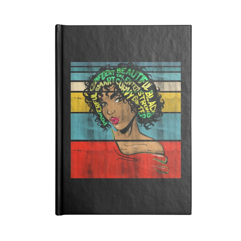Strong Black Woman Afro Typography Art Accessories Notebook by Saksham Artist Shop