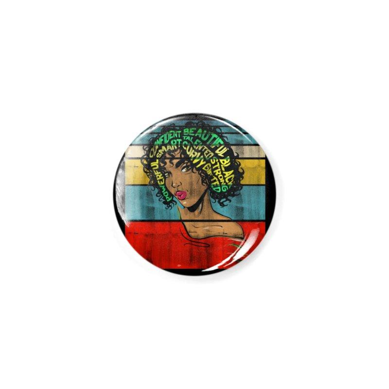 Strong Black Woman Afro Typography Art Accessories Button by Saksham Artist Shop