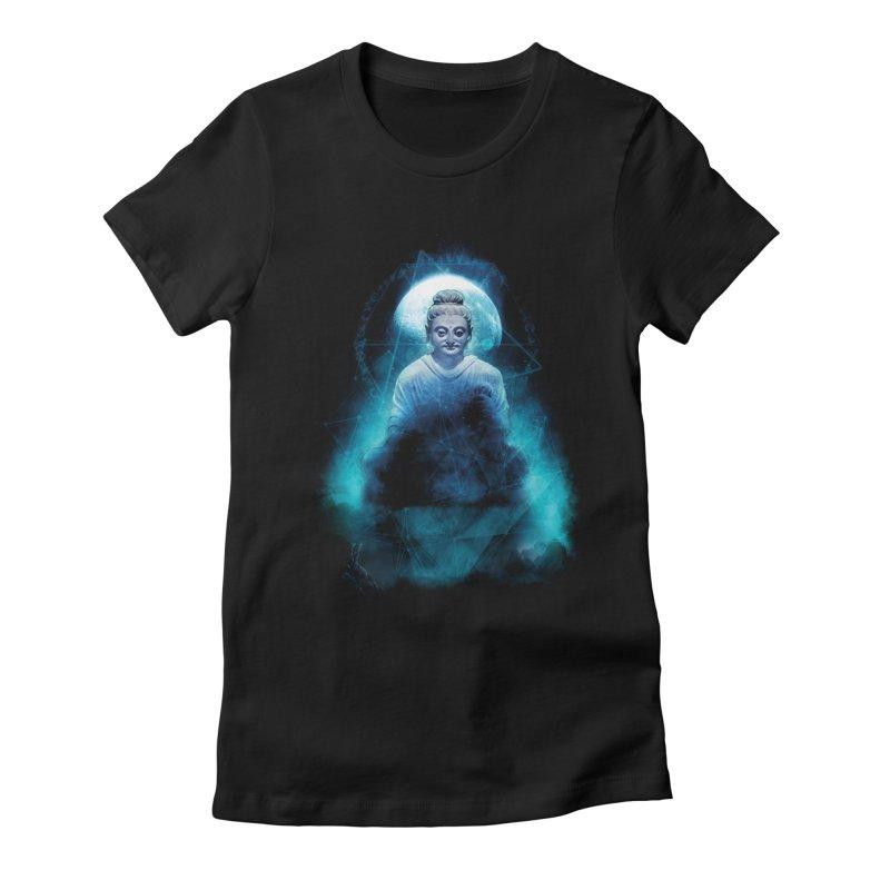 Buddham Sharnam Gachchami Women's Fitted T-Shirt by saksham's Artist Shop