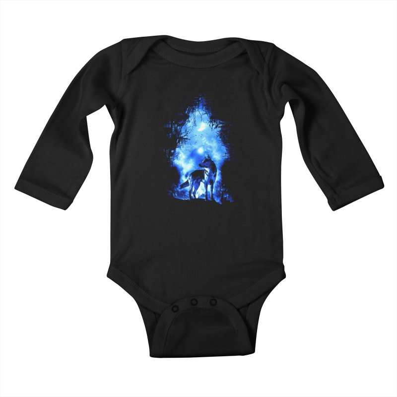 Dart night wolf Kids Baby Longsleeve Bodysuit by saksham's Artist Shop