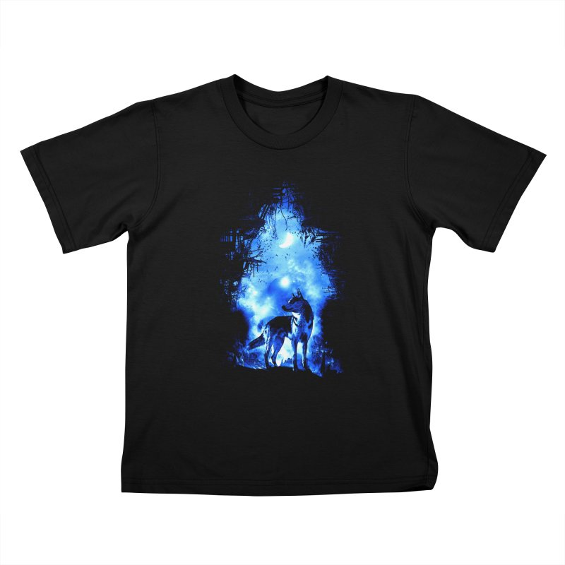 Dart night wolf Kids T-Shirt by saksham's Artist Shop