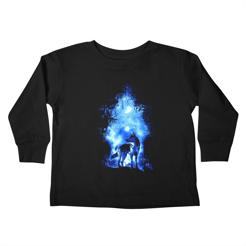 Dart night wolf Kids Toddler Longsleeve T-Shirt by saksham's Artist Shop