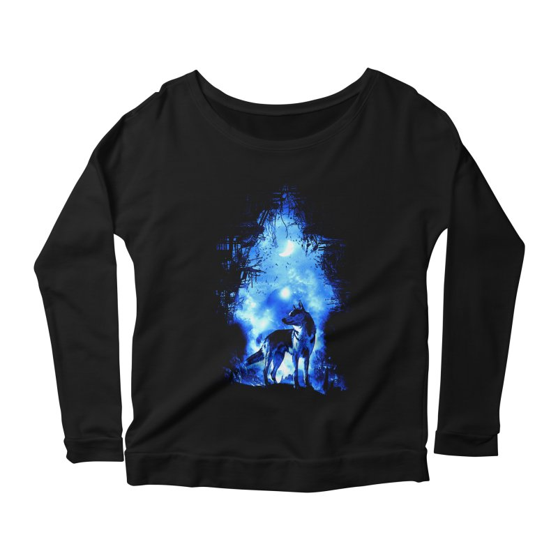Dart night wolf Women's Longsleeve Scoopneck  by saksham's Artist Shop
