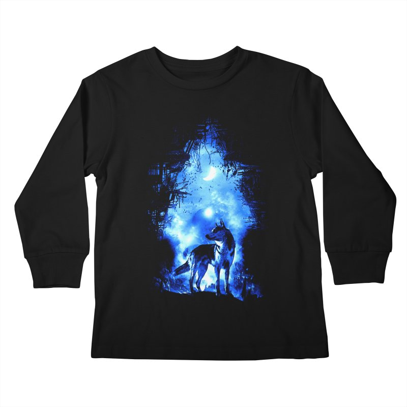 Dart night wolf Kids Longsleeve T-Shirt by saksham's Artist Shop
