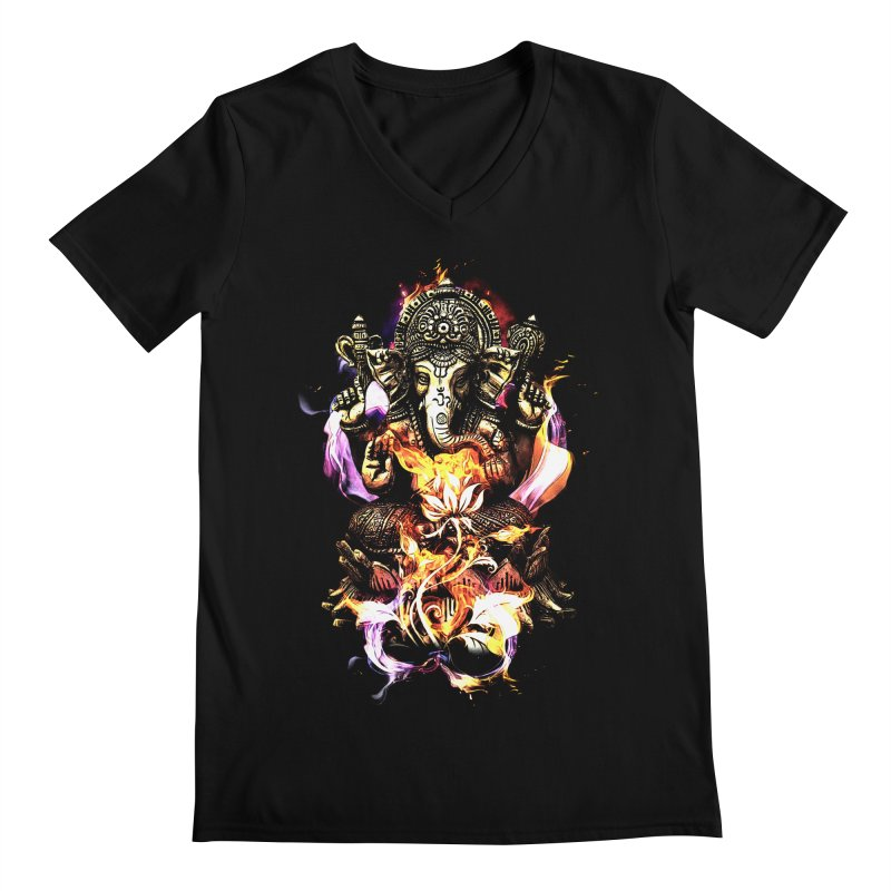 Om Ganeshay Namah Men's V-Neck by saksham's Artist Shop