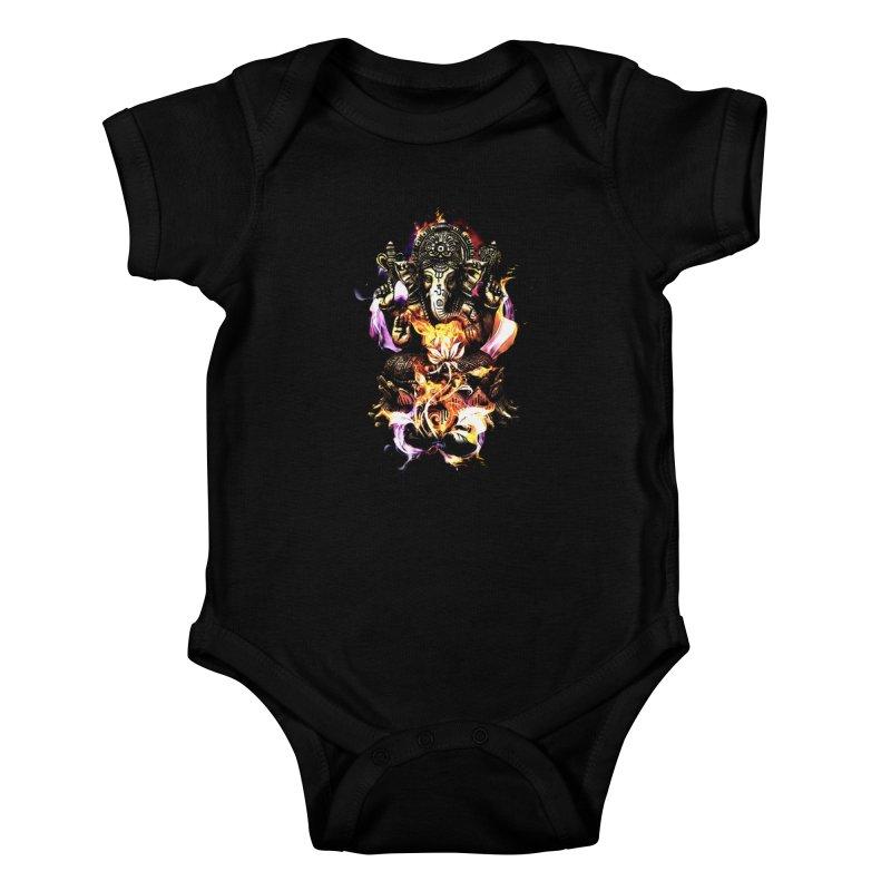 Om Ganeshay Namah Kids Baby Bodysuit by saksham's Artist Shop