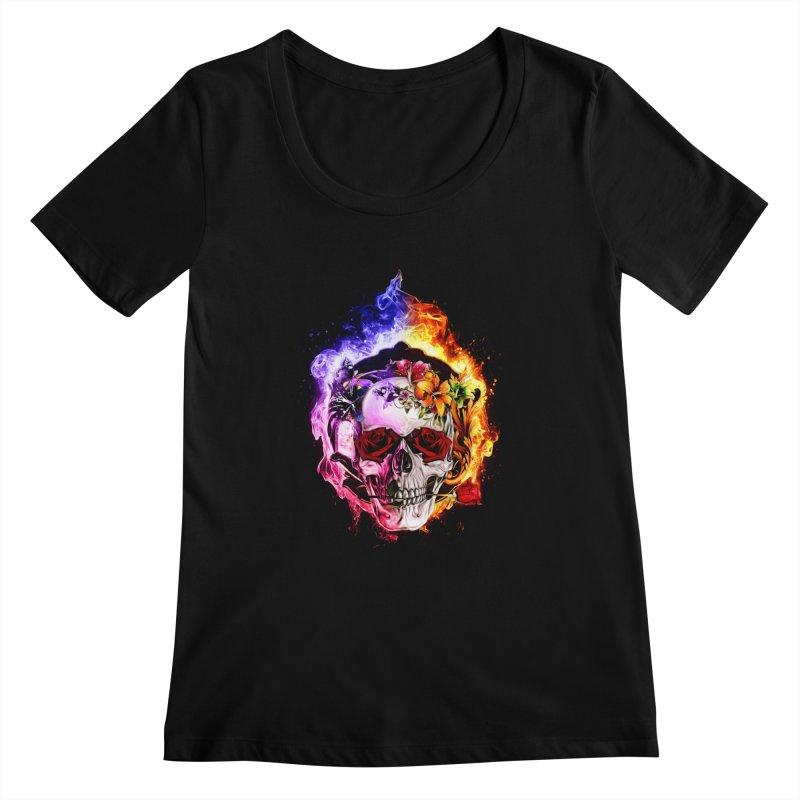 Love VS Hate skull Women's Scoopneck by saksham's Artist Shop