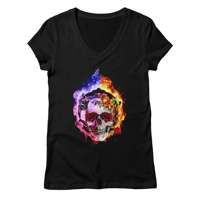 Love VS Hate skull Women's V-Neck by saksham's Artist Shop