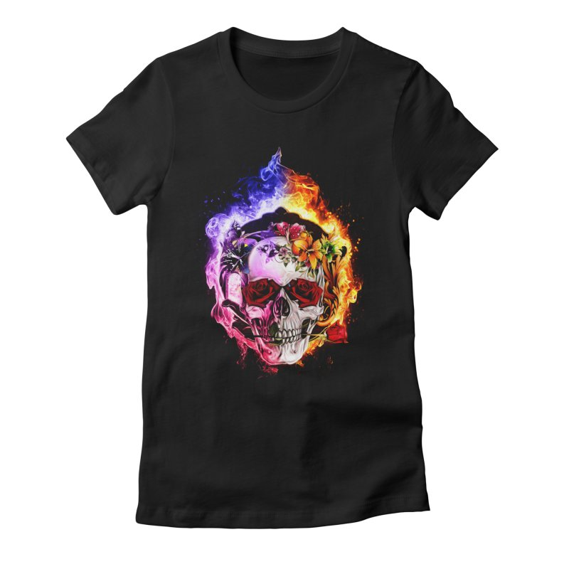 Love VS Hate skull Women's Fitted T-Shirt by Saksham Artist Shop