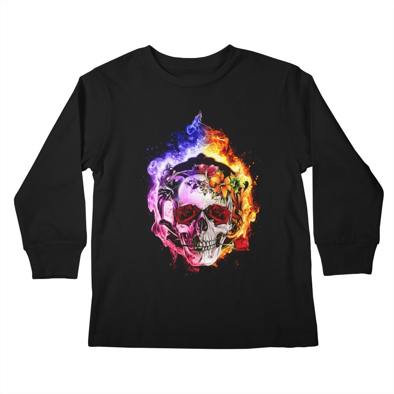 Love VS Hate skull Kids Longsleeve T-Shirt by saksham's Artist Shop