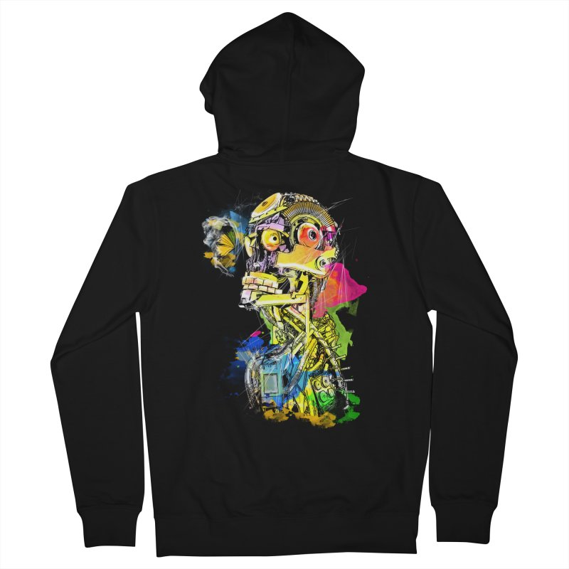 Machine hearted Women's French Terry Zip-Up Hoody by saksham's Artist Shop