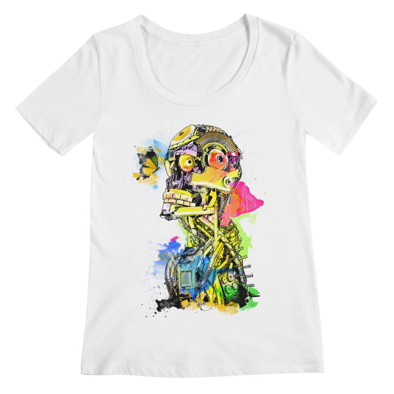 Machine hearted Women's Regular Scoop Neck by Saksham Artist Shop