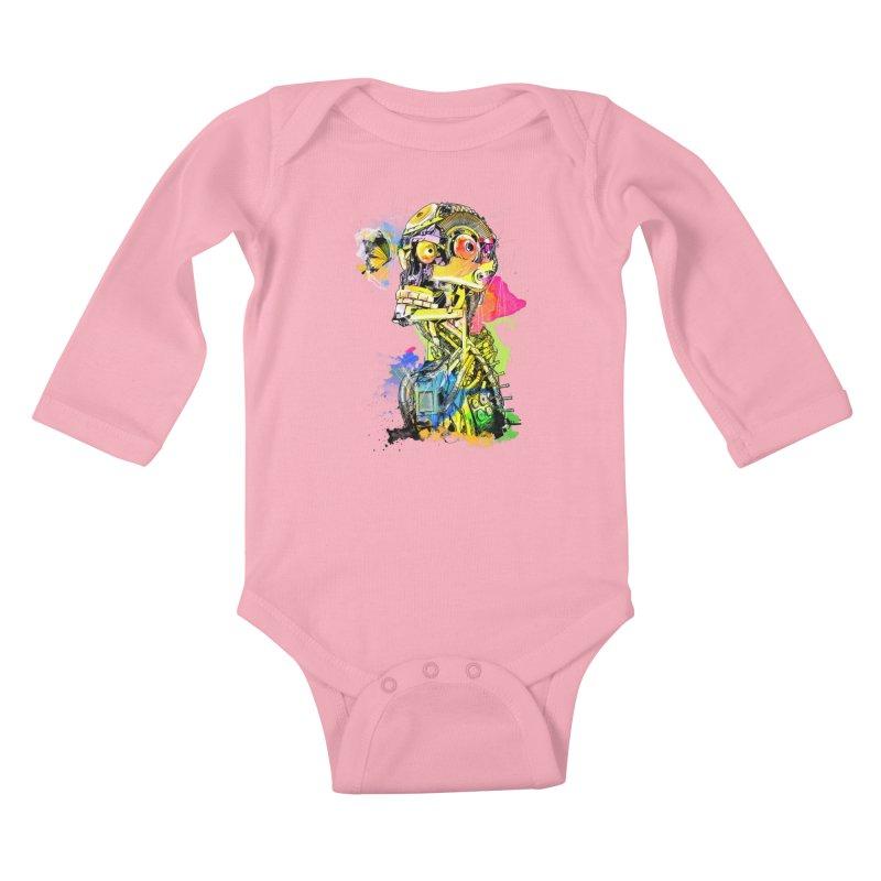 Machine hearted Kids Baby Longsleeve Bodysuit by Saksham Artist Shop