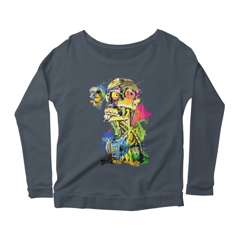 Machine hearted Women's Longsleeve Scoopneck  by saksham's Artist Shop