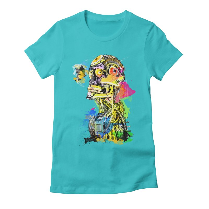 Machine hearted Women's Fitted T-Shirt by Saksham Artist Shop