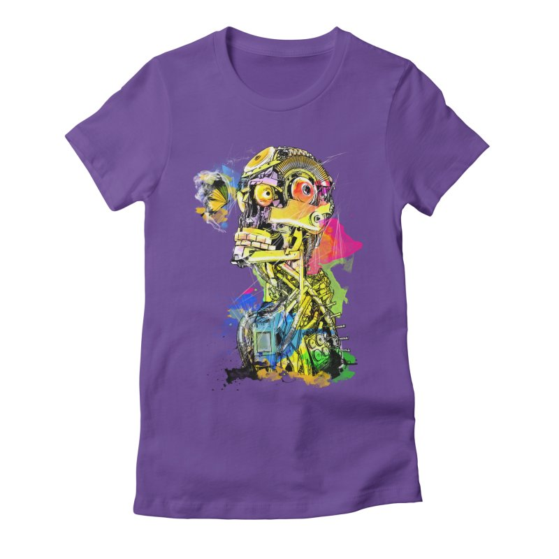 Machine hearted Women's Fitted T-Shirt by Saksham Artist Shop
