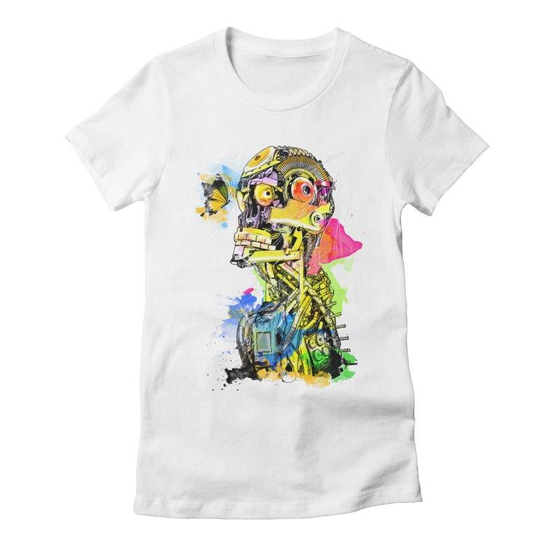 Machine hearted Women's Fitted T-Shirt by saksham's Artist Shop