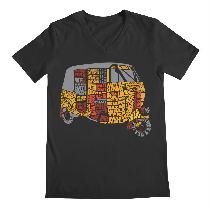 Indian Auto Typography Men's V-Neck by saksham's Artist Shop