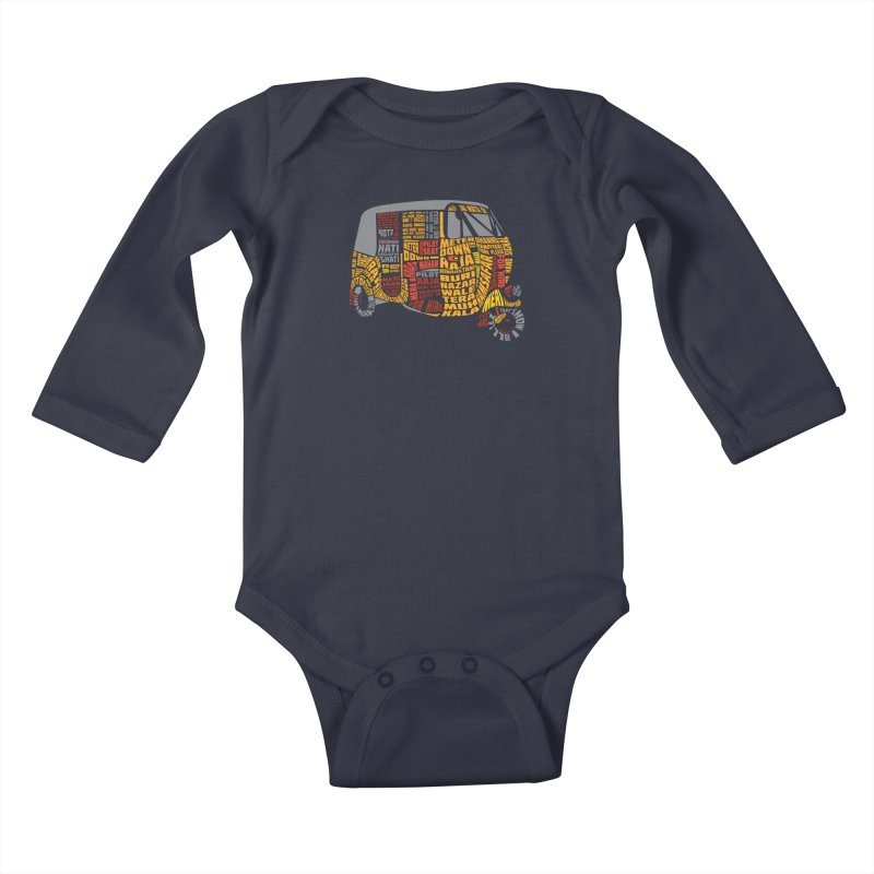 Indian Auto Typography Kids Baby Longsleeve Bodysuit by Saksham Artist Shop