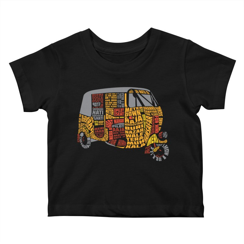 Indian Auto Typography Kids Baby T-Shirt by Saksham Artist Shop