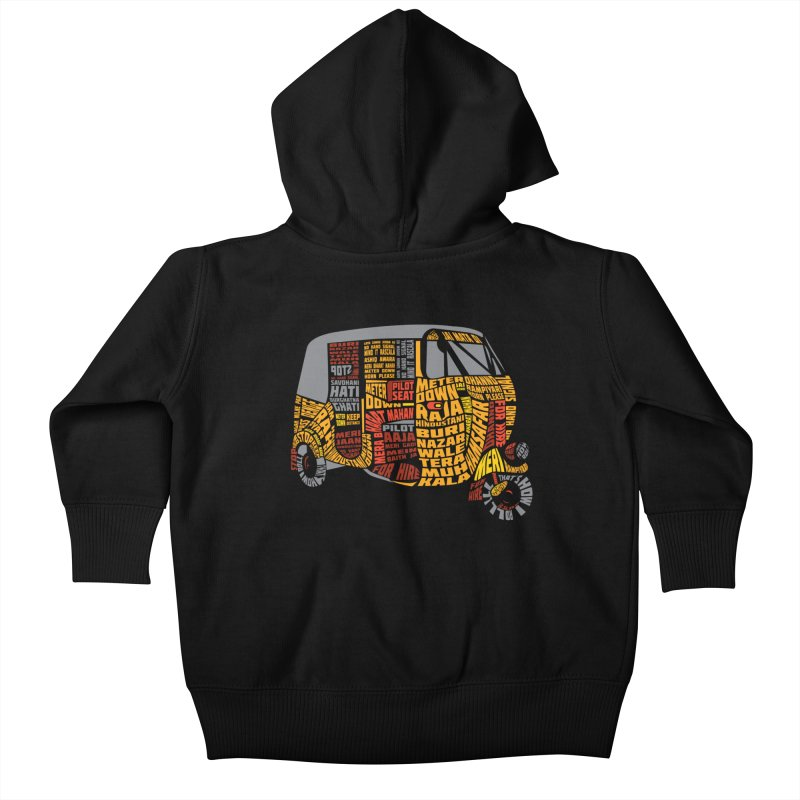 Indian Auto Typography Kids Baby Zip-Up Hoody by saksham's Artist Shop