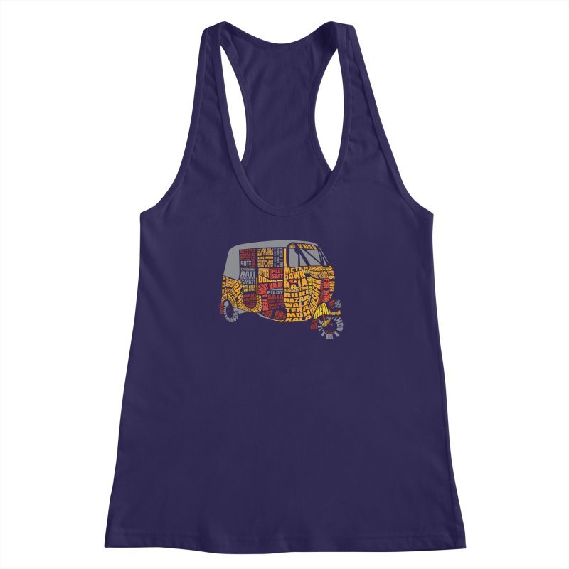 Indian Auto Typography Women's Racerback Tank by saksham's Artist Shop