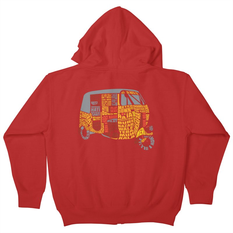 Indian Auto Typography Kids Zip-Up Hoody by saksham's Artist Shop